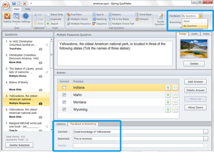 iSpring suite interface