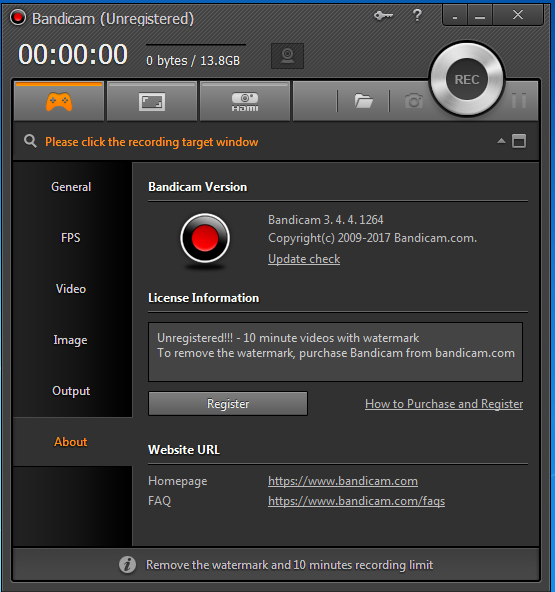 Bandicam Game mode recorder