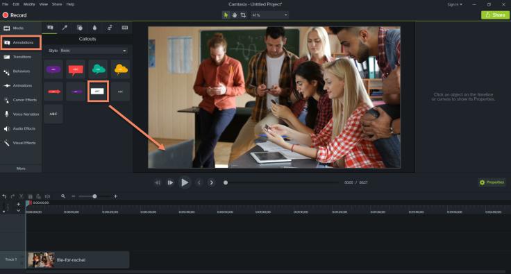 Camtasia Studio 9 editing tools