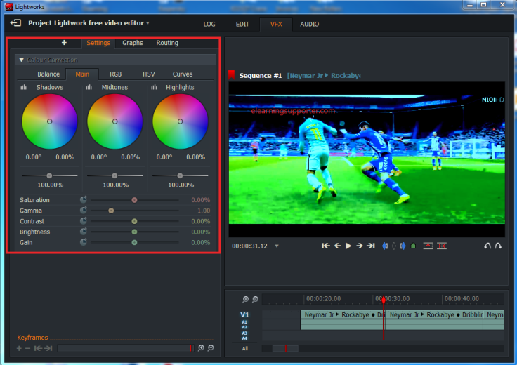 Lightworks Colour Correction Effects