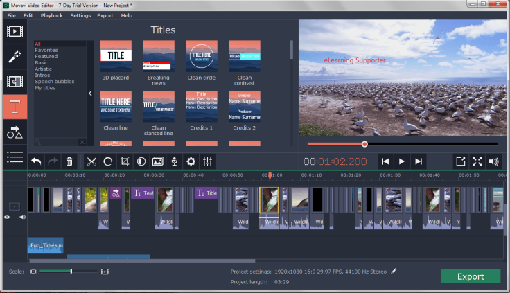 Movavi Video Editor Full feature interface