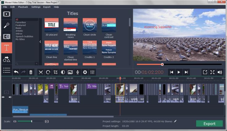 Movavi Video Editor Full feature interface