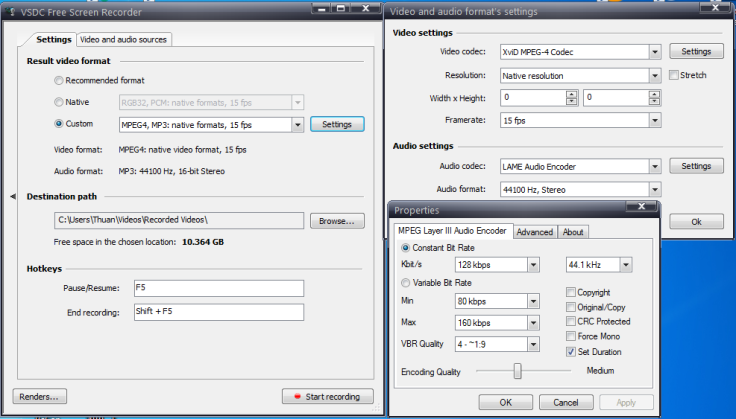 VSDC free screen recorder setting