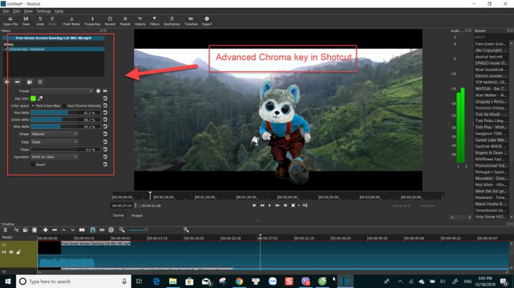 Chroma key in Shotcut video editor