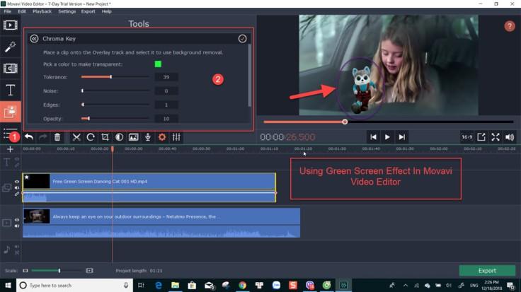 Movavi Video Editor green screen effect