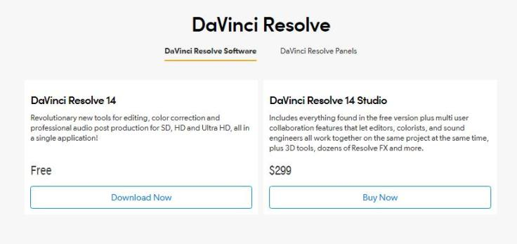 Davinci Resolve Price tag
