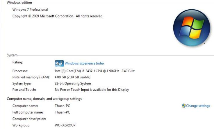 Windows 7 Specifications