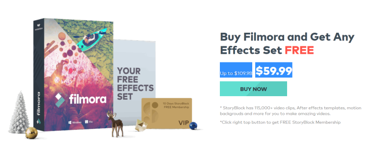 Buy Filmora and get Any effects Set FREE