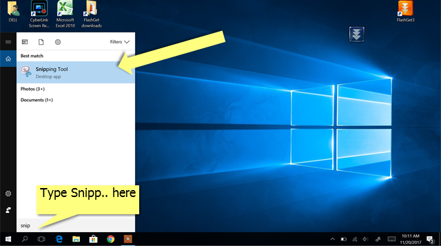 Launch Snipping Tool on Windows 10