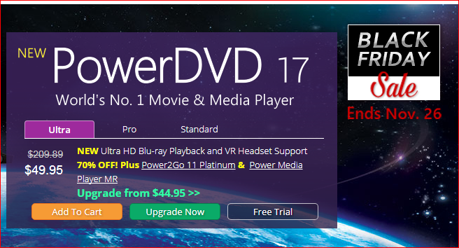 PowerDVD 17 Ultra Black friday 2017