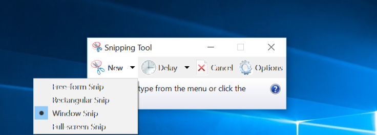 Snipping tool simple interface