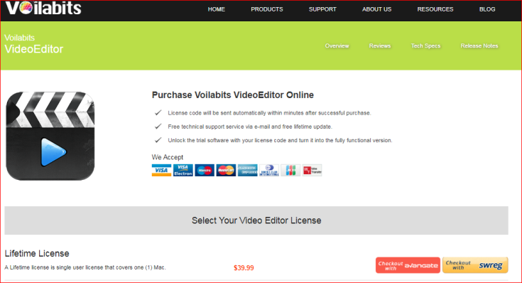 Voilabit video editor for Mac payment