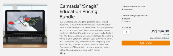 Camtasia and Snagit bundle education pricing