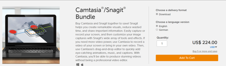 Camtasia and Snaigt bundle