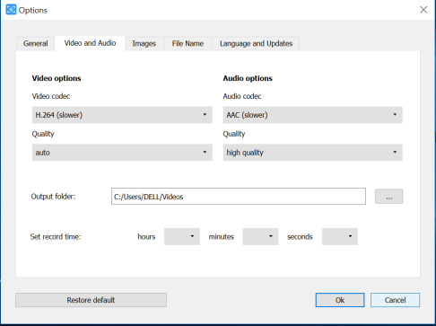 DVDvideosoft Video and audio setting