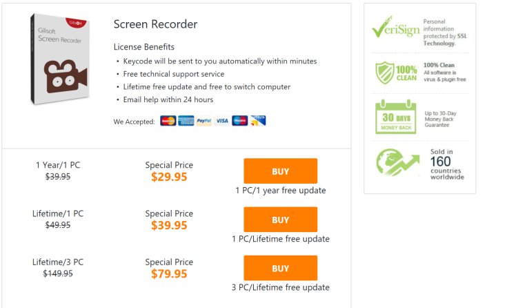 Gilisoft Screen Recorder Prices