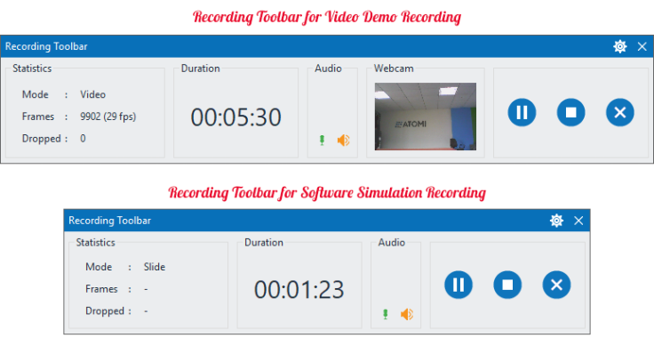 ActivePresenter Recording Toolbar