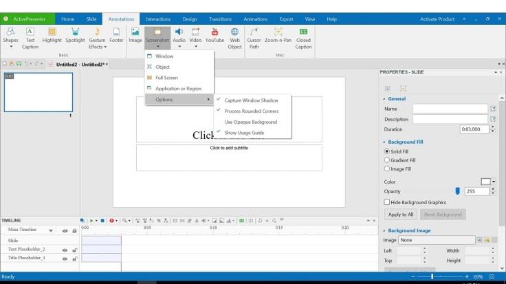 Take Screenshot on ActivePresenter