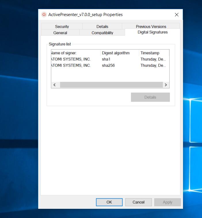 ActivePresenter Download Package Digital Signature