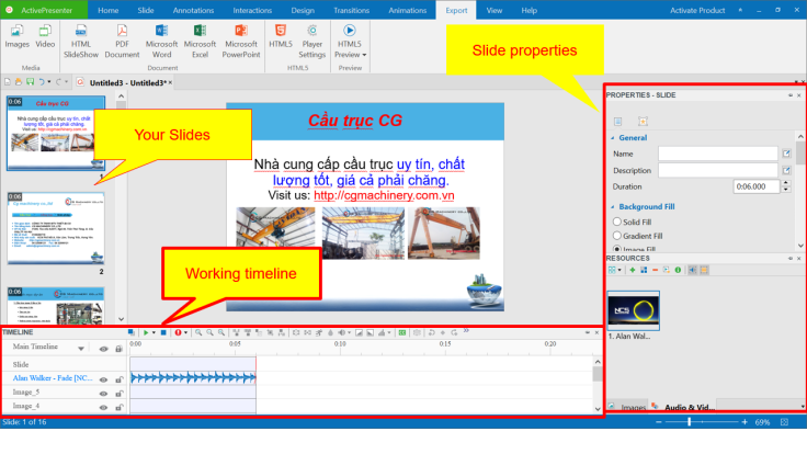 ActivePresenter Slide Editor