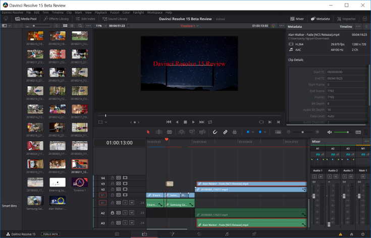 Davinci Resolve 15 User Interface