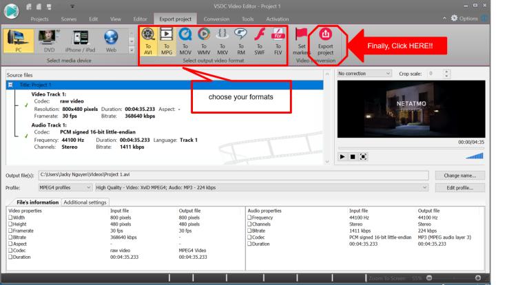 Export Video in VSDC