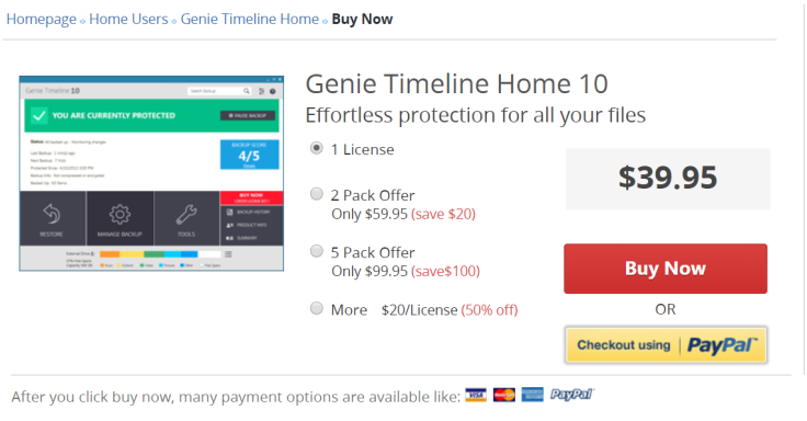 Genie Timeline Home 10 Pricing Detail