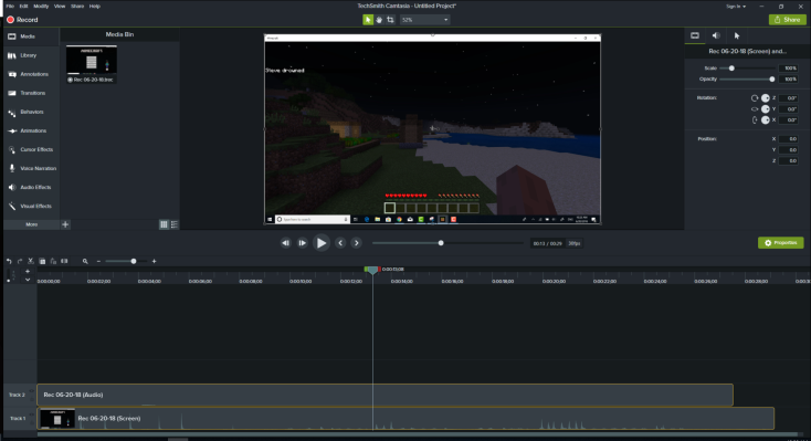 Using Camtasia 2018 for Recording Minecraft