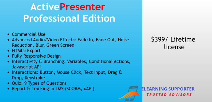 ActivePresenter Professional Edition lifetime license is $399. It's worth to buy if you are e-learning professionals.