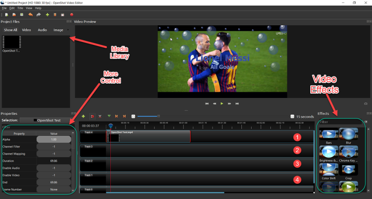 OpenShot user interface is as simple to use as other consumer video editors.