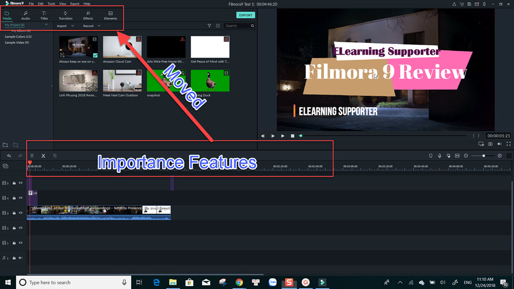 Filmora 9 Important Features are moved to top left of the editor.