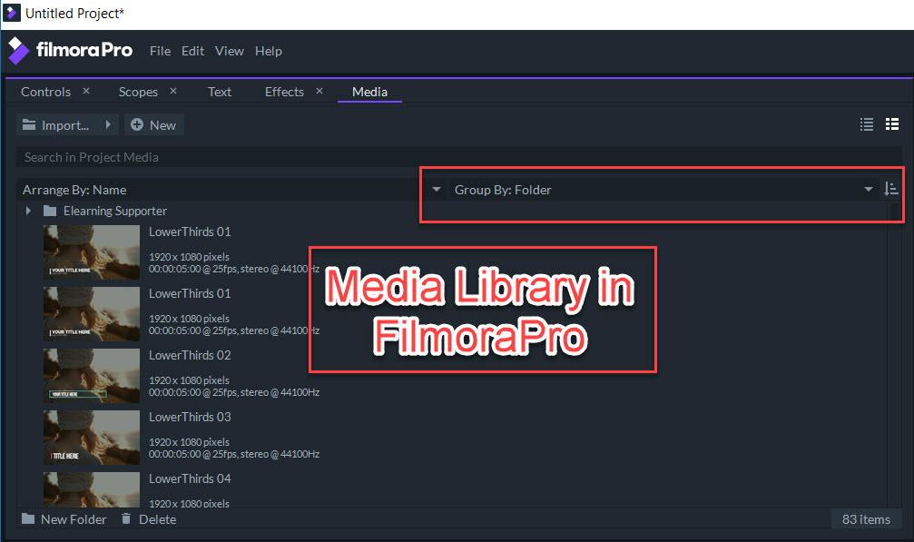 FilmoraPro Media Library