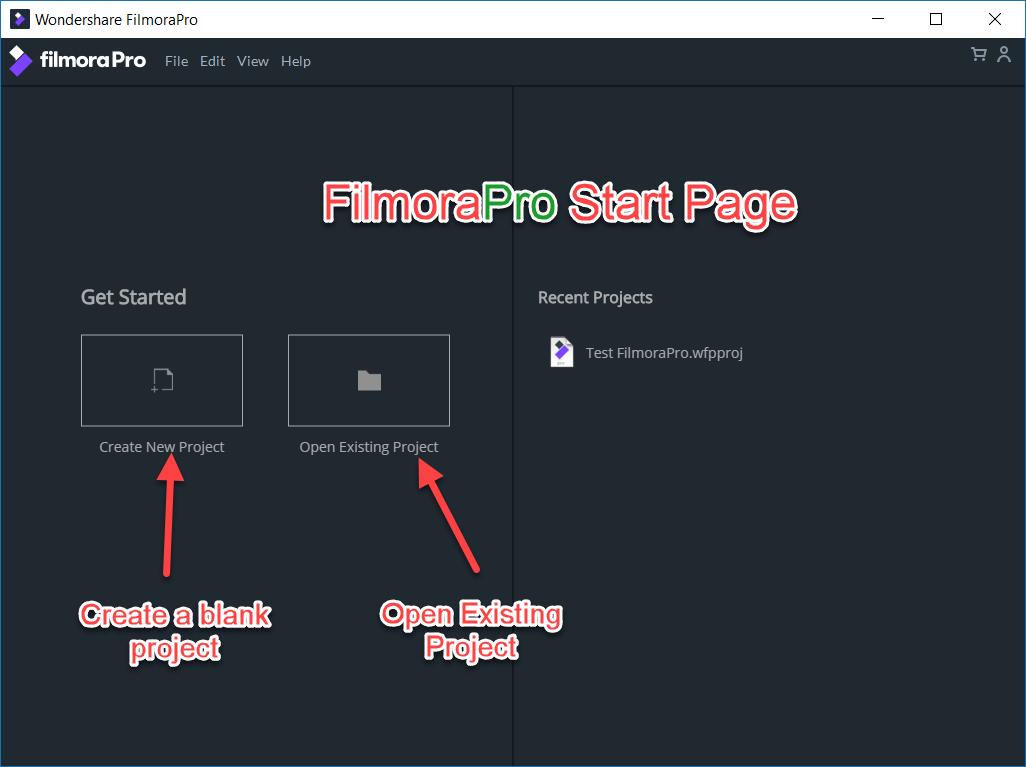 FilmoraPro Simplified Start Page