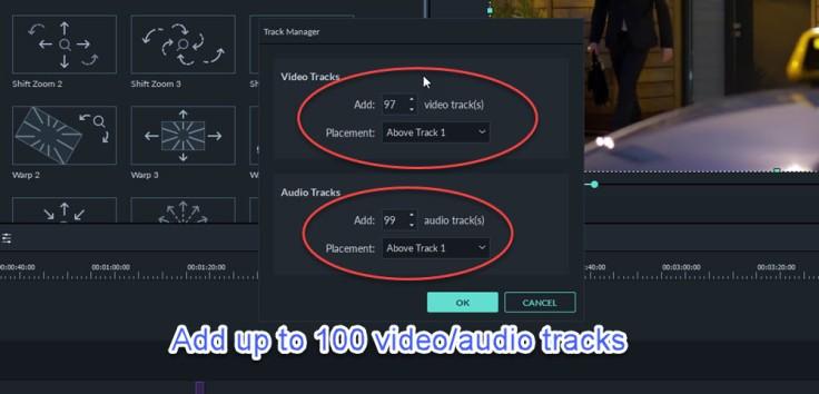 Add 100 video tracks in Filmora 9