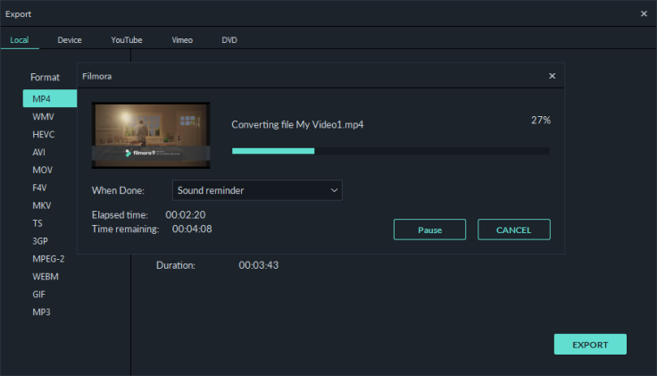Filmora9 video rendering speed is faster than its previous edition.