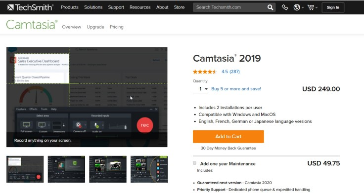 Camtasia 2019 Pricing Plan