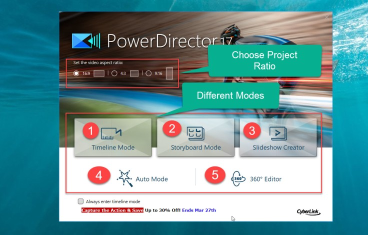 PowerDirector 17 Starting Screen