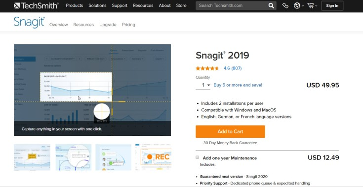 Snagit 2019 Pricing Plan