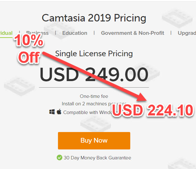 10% Off Camtasia Coupon