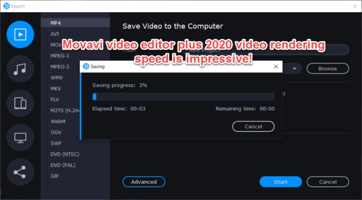 Movavi video editor plus 2020 video rendering speed