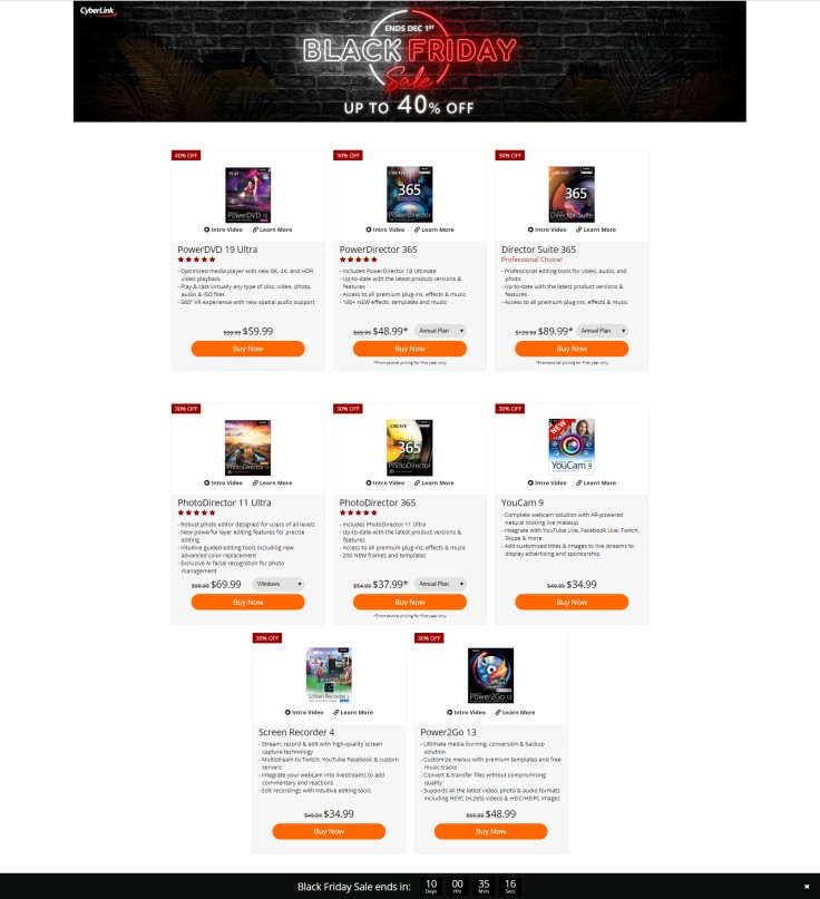 CyberLink Black Friday 2019 Page