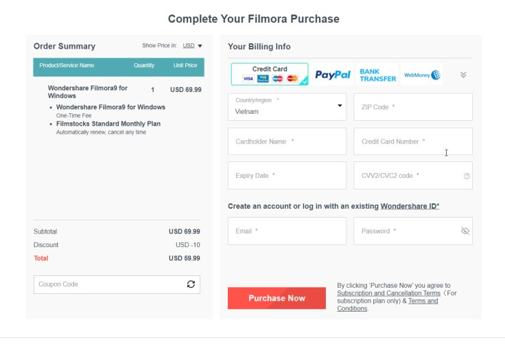 Filmora Purchase Page